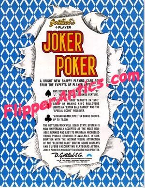 Flyer Du Flipper Joker Poker Gottlieb Flipper Antics